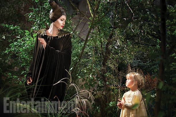 Angelina Jolie and her daughter in Disney's Maleficent