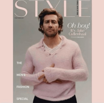 jake gyllenhaal in a pink sweater on the cover ofsunday style