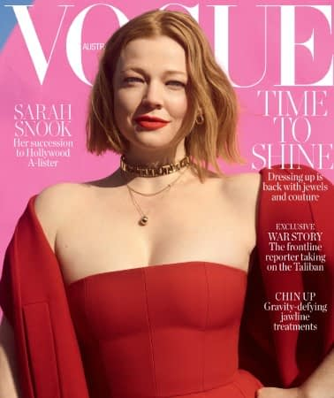 Succession star Sarah Snook wears a red strapless dress on the cover of Vogue Australia