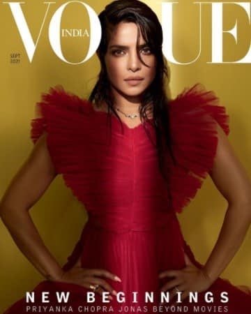 Priyanka Chopra in a red dress on the cover of Vogue India