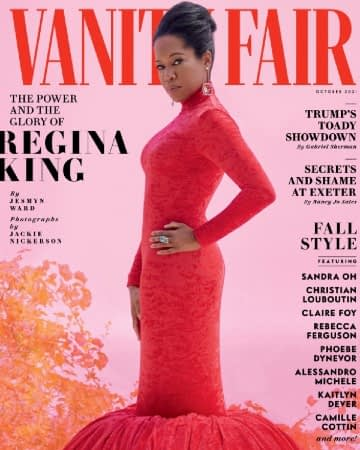 regina king wears a red dress on the cover of vanity fair