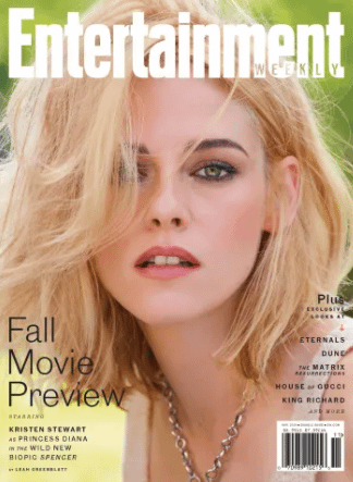 A closeup of a blonde Kristen Stewart on the cover of EW